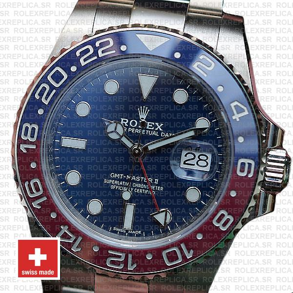 Rolex GMT-Master II Pepsi 18k White Gold Pepsi Red Blue Ceramic Bezel Replica Watch