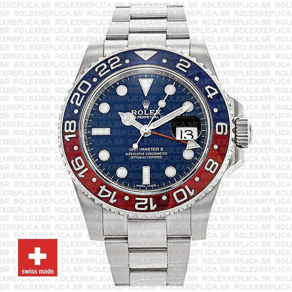 Rolex Gmt Master Ii 18k White Gold Pepsi Bezel Blue Dial126719blro 40mm Oyster Band