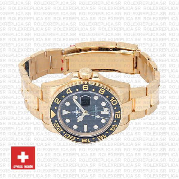 Rolex Gmt Master Ii Gold Black Ceramic 40mm Oversized 116718 Swiss Replica