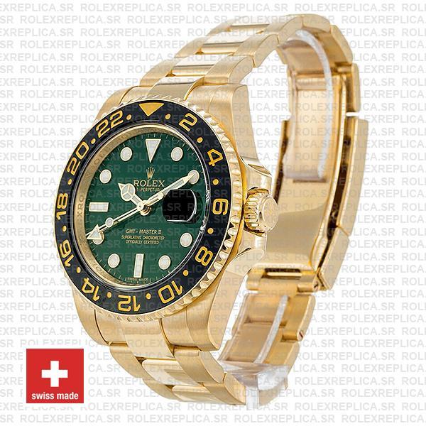 Rolex GMT-Master II Green Dial 40mm 18k Yellow Gold Watch