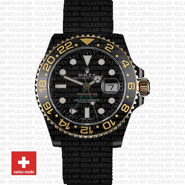 Rolex Gmt Master Ii Pro Hunter 2 Tone Gold Dlc Black Ceramic Nato Strap 40mm Oversized 116713 Replica