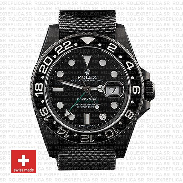 Rolex GMT-Master II Pro Hunter DLC 904L Steel NATO Strap Black Ceramic Bezel