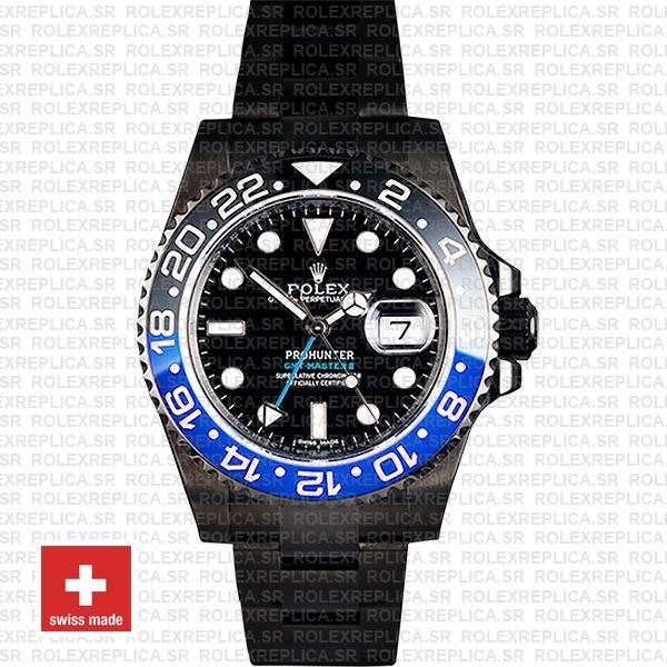 Rolex GMT-Master II Pro Hunter DLC Batman Black Dial Watch