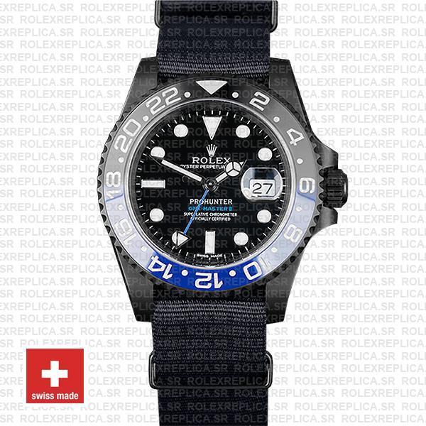 Rolex Gmt Master Ii Pro Hunter Dlc Blue Black Ceramic Nato Strap 40mm Oversized 116710 Replica