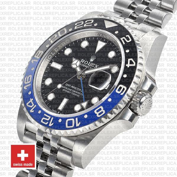 Rolex GMT-Master II Batman Black Dial 40mm Blue Black Ceramic Bezel 904L Steel Jubilee Bracelet