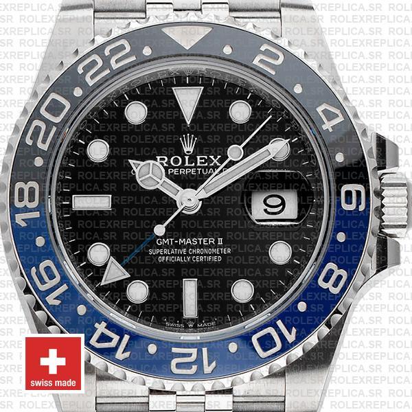 Rolex GMT-Master II Batman Black Dial 40mm Blue Black Ceramic Bezel 904L Steel Jubilee Bracelet Replica