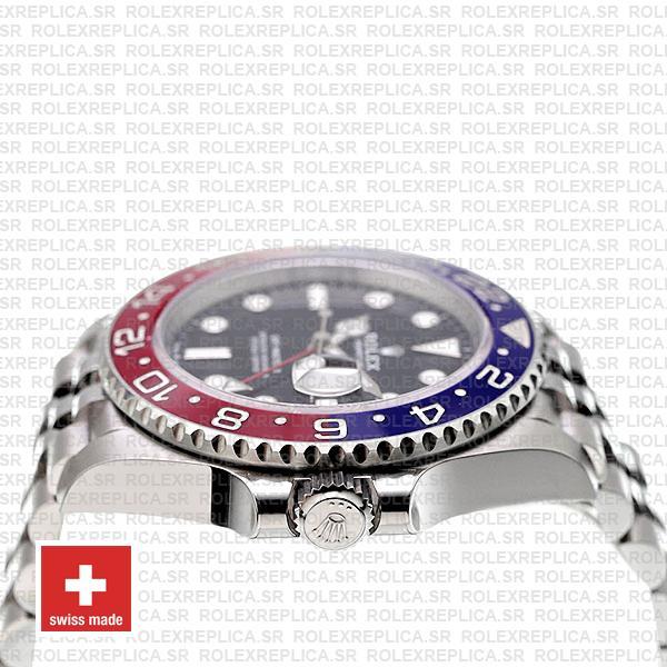 Rolex GMT-Master II Pepsi Red Blue Ceramic Bezel Steel Jubilee Bracelet Black Dial 40mm Replica
