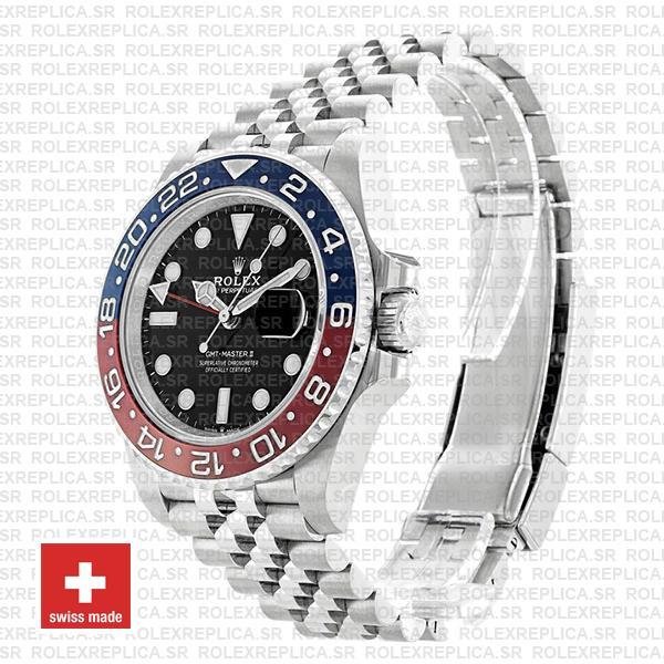 Rolex GMT-Master II Pepsi Red Blue Ceramic Bezel Steel Jubilee Bracelet Black Dial