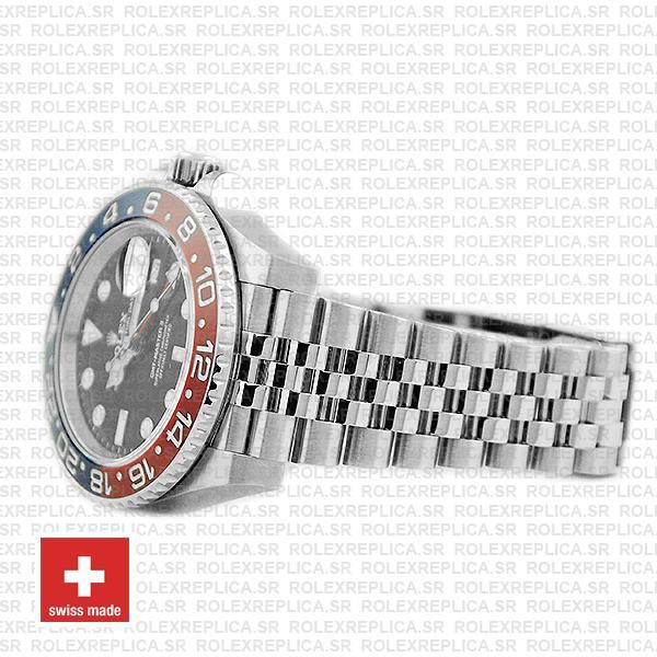 Rolex GMT-Master II Pepsi Red Blue Ceramic Bezel Steel Jubilee Bracelet Watch