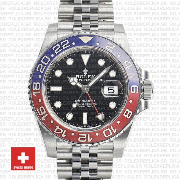 Rolex GMT,Master II 904L Steel Jubilee Bracelet Pepsi Red/Blue Ceramic  Bezel Black Dial 40mm Swiss Replica Watch