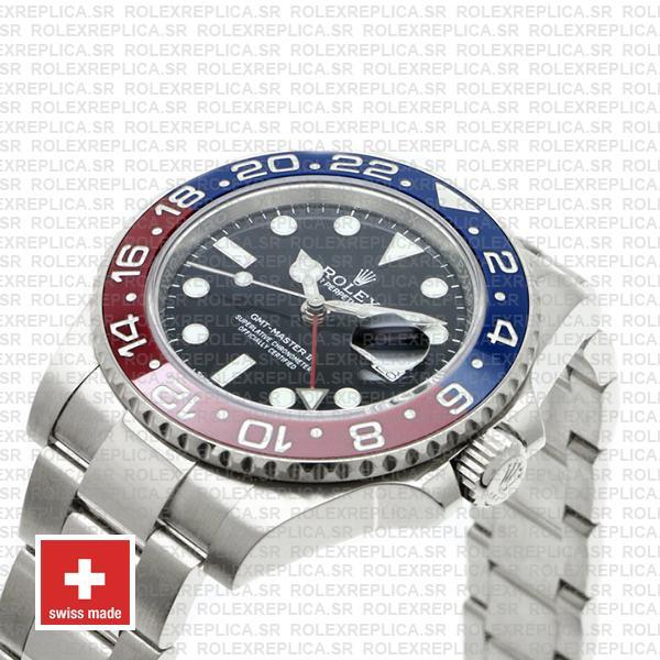 Rolex GMT-Master II 40mm Pepsi Red Blue Ceramic Bezel in Stainless Steel 18k White Gold 904L Steel