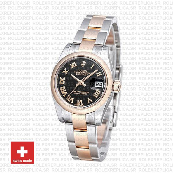 Rolex Datejust 18k Rose Gold Two-Tone with 904L Stainless Steel Oyster Bracelet & Black Roman Dial 31mm