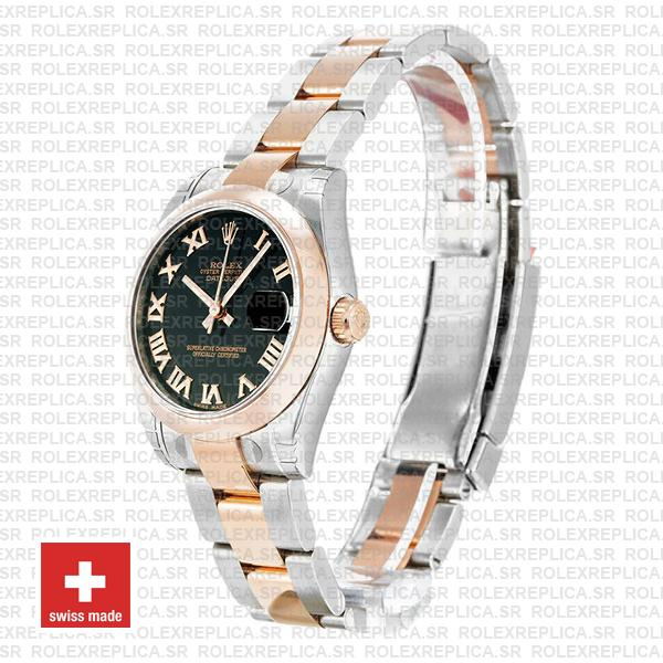 Rolex Datejust 18k Rose Gold Two-Tone with 904L Stainless Steel Oyster Bracelet & Black Roman Dial 31mm Watch