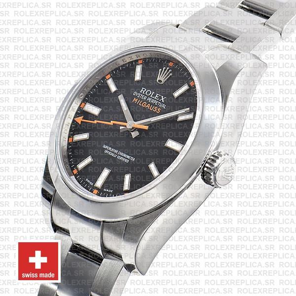 Rolex Milgauss 904L Stainless Steel Black Dial Rolex Replica Watch