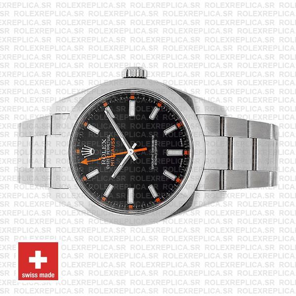 Rolex Milgauss Stainless Steel Smooth Bezel in 904L Steel Oyster Bracelet & Black Dial 40mm