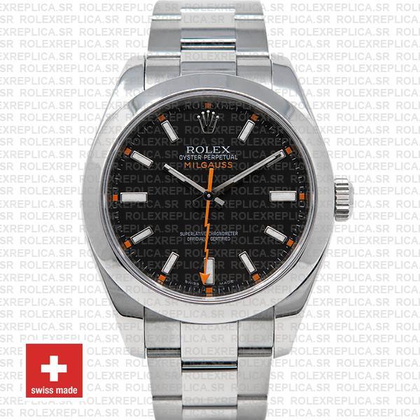 Rolex Milgauss 904L Stainless Steel Black Dial | Replica Watch