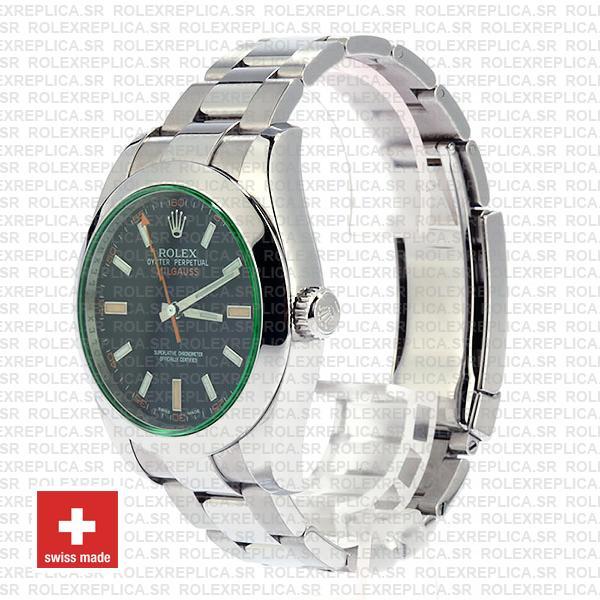 Rolex Milgauss Stainless Steel in Green Sapphire & Black Dial 40mm, 904L Oyster Steel Bracelet