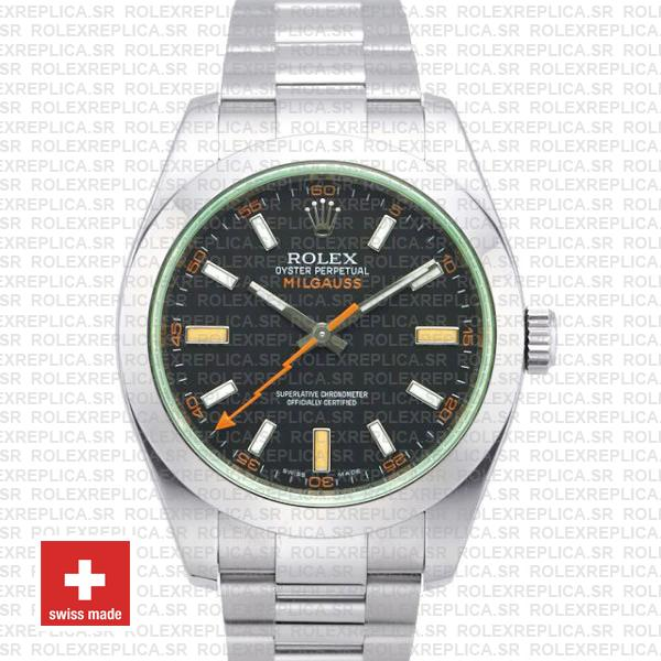 Rolex Milgauss Black Dial Green Crystal 40mm 116400 Swiss Replica