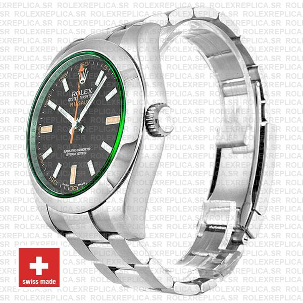 Rolex Milgauss Stainless Steel Green Dial Rolex Replica Watch