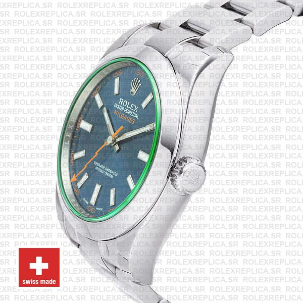 Rolex Milgauss 904L Stainless Steel Blue Dial 40mm 116400 Swiss Replica Watch with Oyster Bracelet