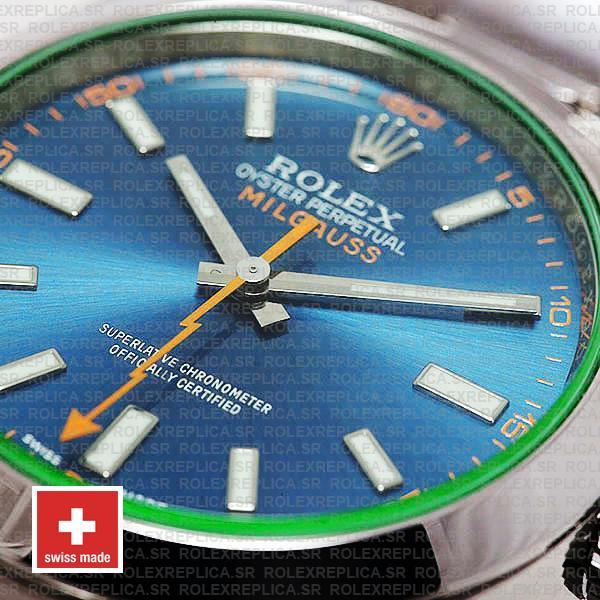 Rolex Milgauss Stainless Steel Blue Dial Watch Rolex Replica