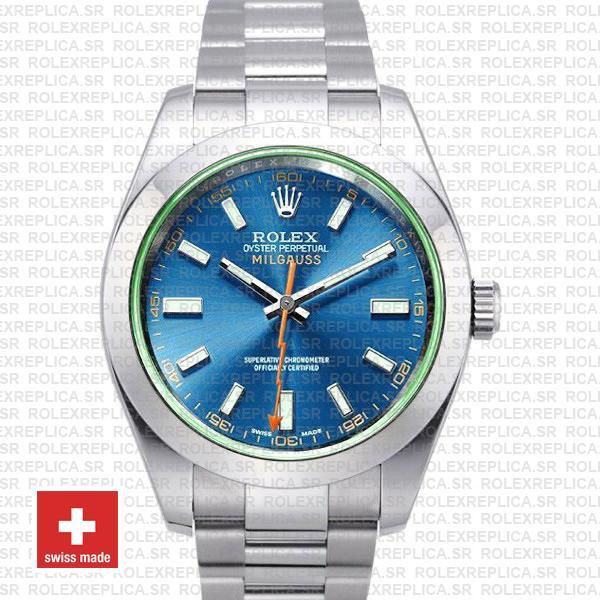 Rolex Milgauss Stainless Steel Blue Dial Watch | Rolex Replica