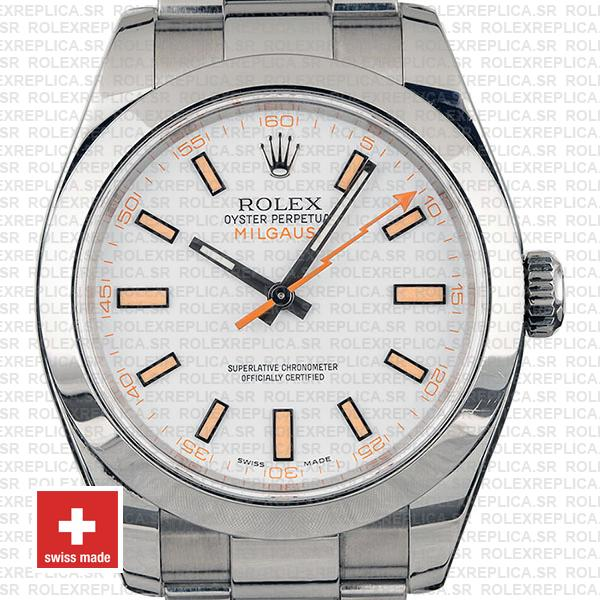 Rolex Milgauss Stainless Steel White Dial Rolex Replica Watch