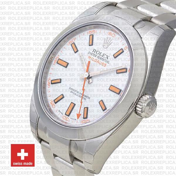Rolex Milgauss White Dial 40mm 116400 Swiss Replica