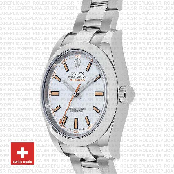 Rolex Milgauss Oyster Perpetual Stainless Steel White Dial Replica Watch, 904L Steel Oyster Bracelet 40mm