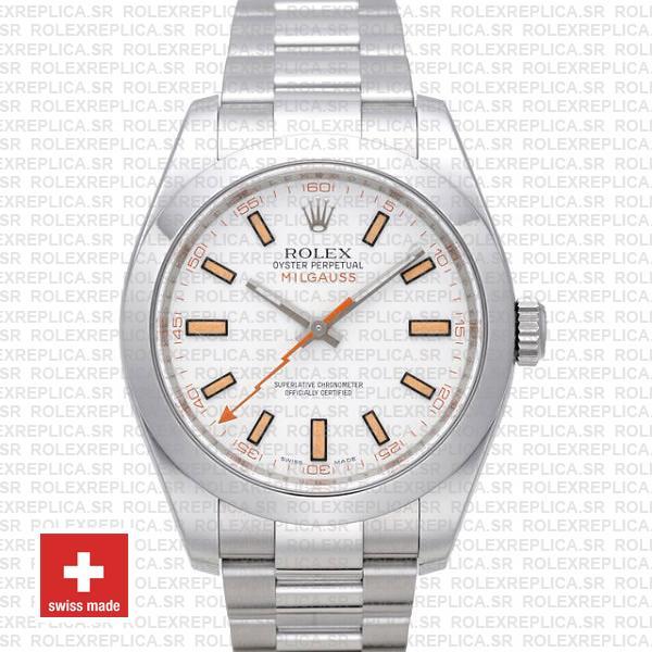 Rolex Milgauss Stainless Steel White Dial | Rolex Replica Watch