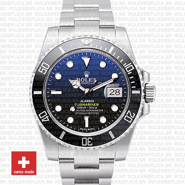 Rolex Submariner Blaken D-Blue Dial | 904L Steel Rolex Watch