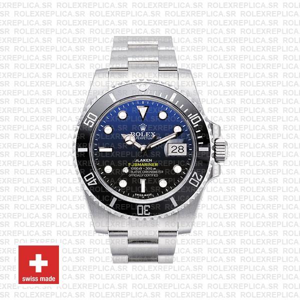 Rolex Submariner Blaken D-Blue Dial 904L Steel with Black Ceramic Bezel 40mm