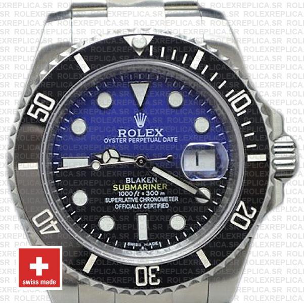 Rolex Submariner Blaken D-Blue Dial 904L Steel Replica Watch