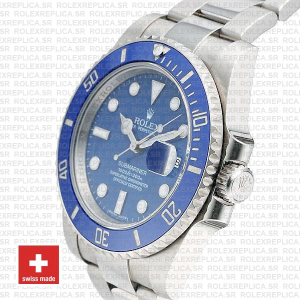 Rolex Submariner White Gold Blue Dial 40mm Replica Watch