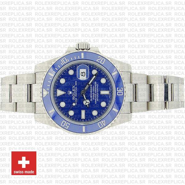 Rolex Submariner 18k White Gold Stainless Steel Blue Ceramic Bezel