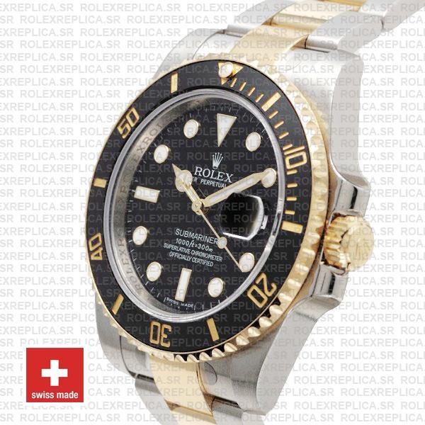 Rolex Submariner 2 Tone Black Dial Rolex Replica Watch