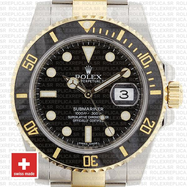 Rolex Oyster Perpetual Submariner 18K Yellow Gold 2 Tone 904L Steel Oyster Bracelet