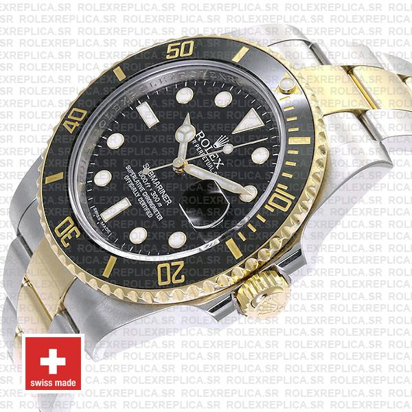 Rolex Oyster Perpetual Submariner 18K Yellow Gold 2 Tone 904L Steel Oyster Bracelet 40mm