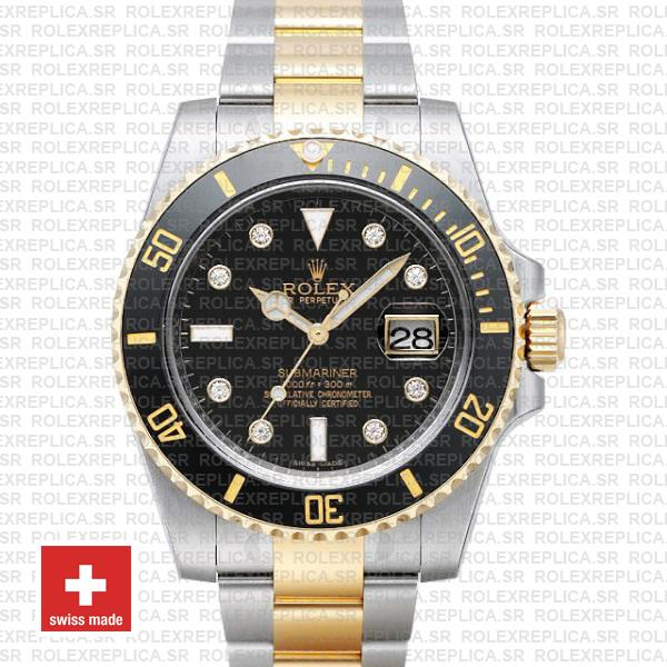 Rolex Submariner 40mm Watch | 2 Tone Black Diamond Dial