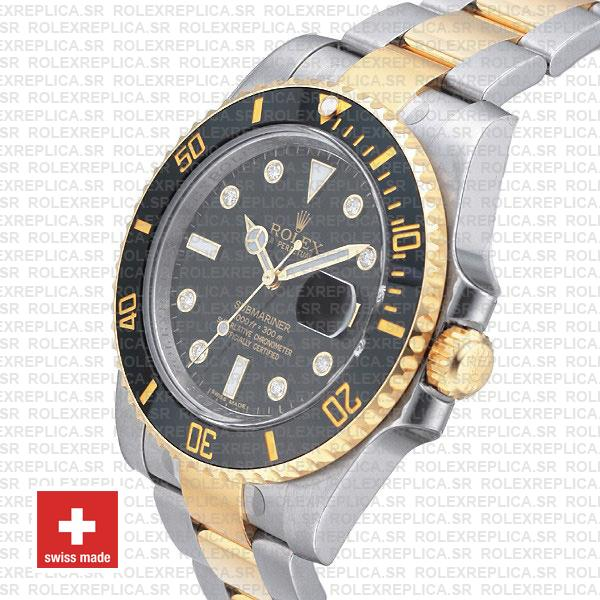 Rolex Submariner 40mm Watch 2 Tone Black Diamond Dial Watch