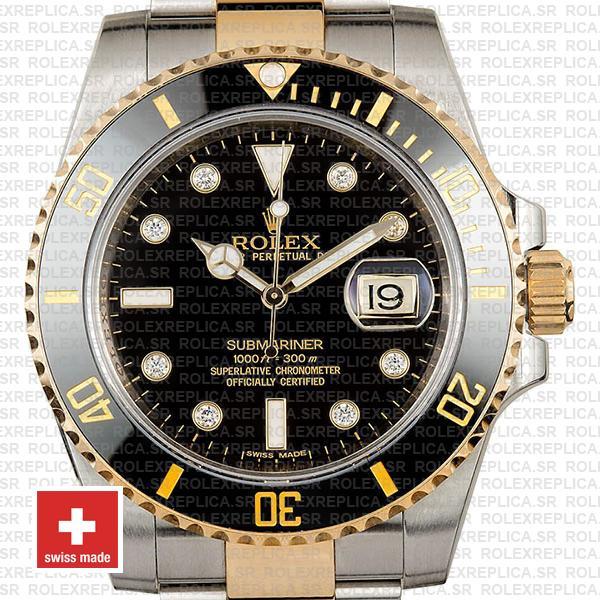 Rolex Submariner 40mm Watch 2 Tone Black Diamond Dial Replica Watch