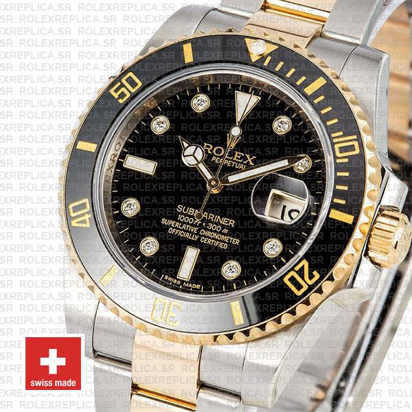 Rolex Oyster Perpetual Submariner 2 Tone 18k Yellow Gold Black Diamond Dial