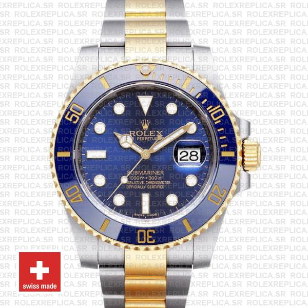 Rolex Submariner 2 Tone 18k Yellow Gold Blue Dial Replica