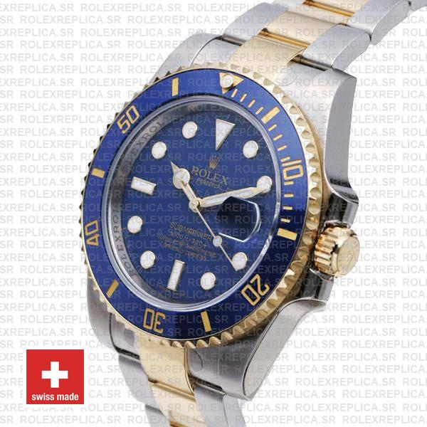 Rolex Submariner 2 Tone 18k Yellow Gold Blue Dial Replica Watch