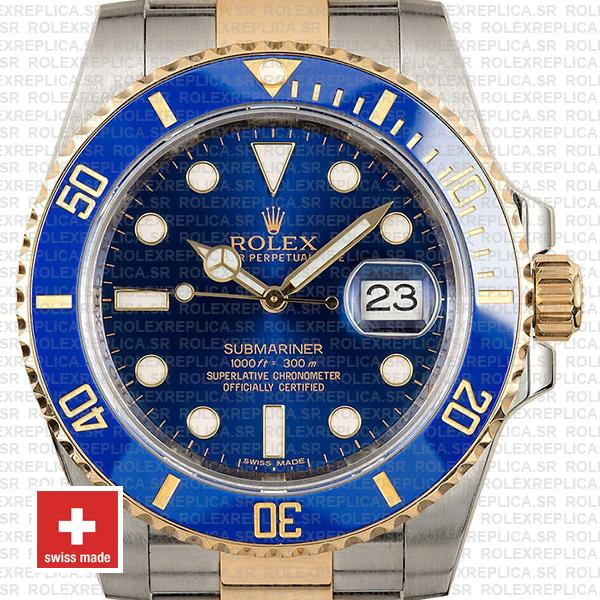 Rolex Submariner 2 Tone 18k Yellow Gold Blue Dial Swiss Replica Watch