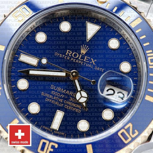 Rolex Submariner 2 Tone 18k Yellow Gold Blue Dial Rolex Replica Watch