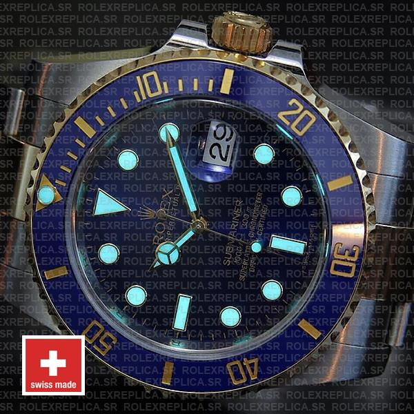 Rolex Submariner 2 Tone 18k Yellow Gold Blue Dial 40mm