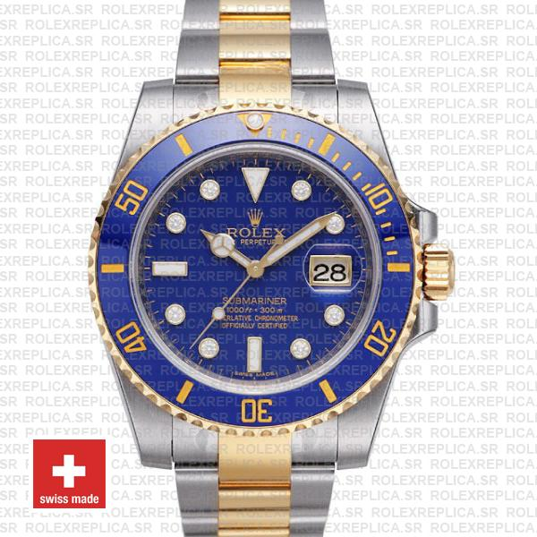 Rolex Submariner 2 Tone Blue Diamonds Ceramic 40mm 116613