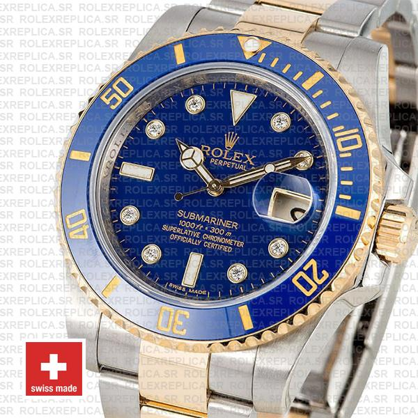Rolex Submariner Yellow Gold 2 Tone Blue Dial