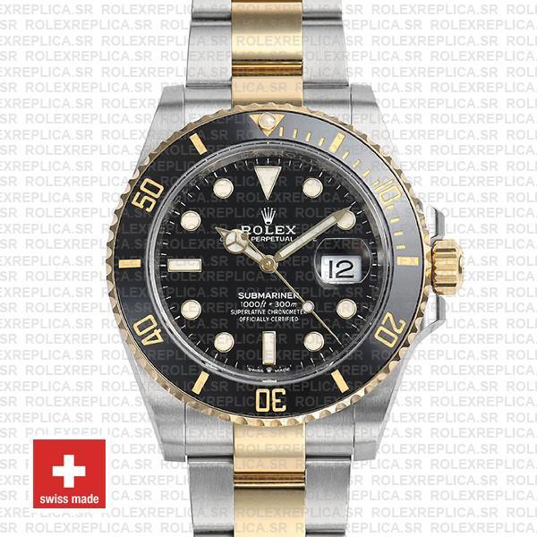 Rolex Submariner 2 Tone Black Dial 41mm Replica Watch